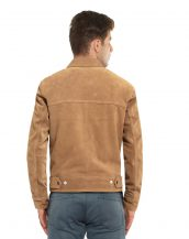 Mens Suede Casual Jacket with Notch Lapel Collar