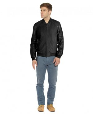 Mens Suede and Leather Bomber Jacket