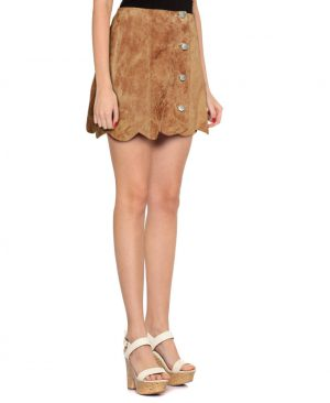 Womens Camel High Waisted Suede Skirt with Scalloped Hem