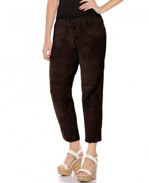 Womens Suede Cropped Joggers