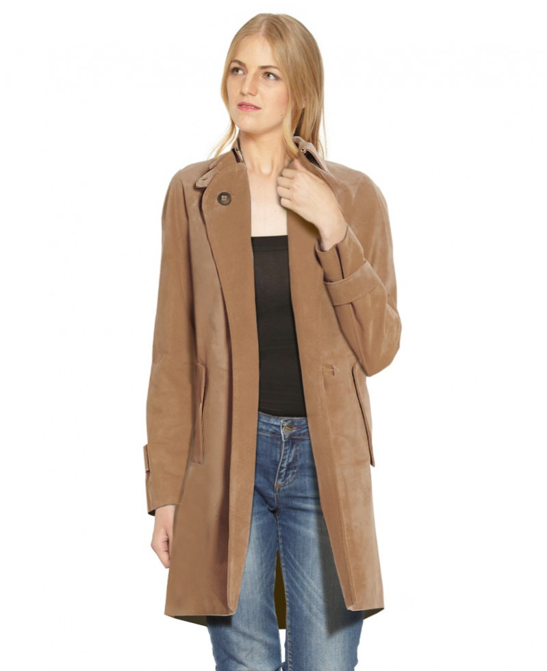 Suede Trench Coat with Cuff Tabs 1