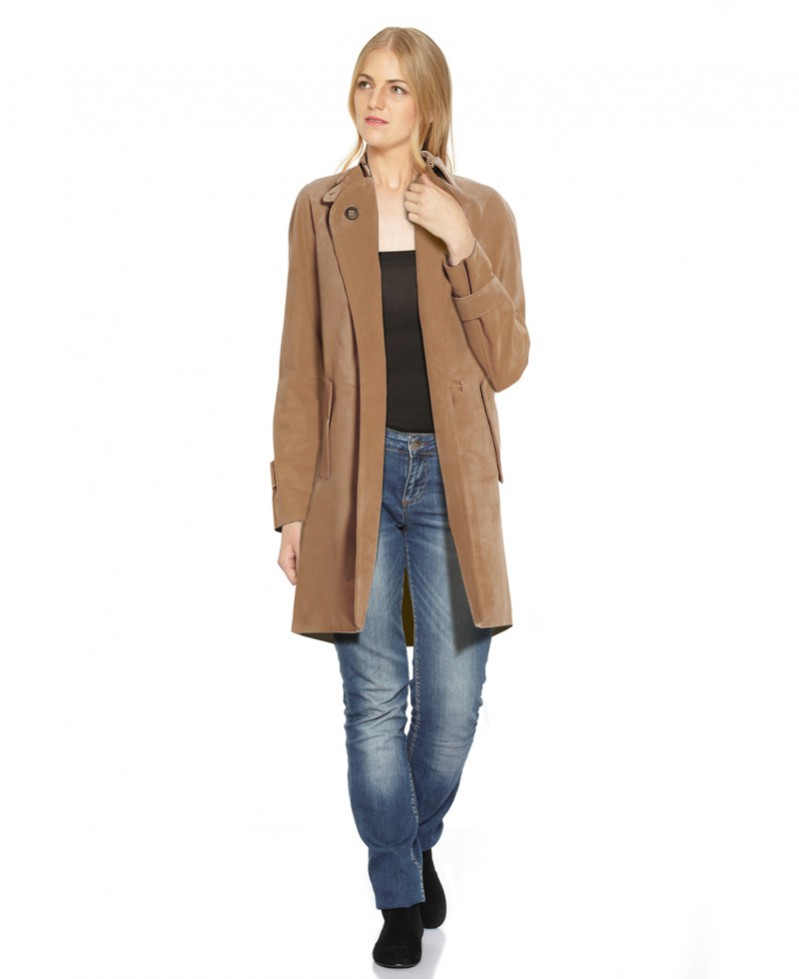 ... Suede Trench Coat with Cuff Tabs ... - Side Pockets Suede Trench Coat For Women At LeatherRight