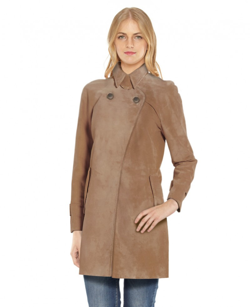 Suede Trench Coat with Cuff Tabs ... - Side Pockets Suede Trench Coat For Women At LeatherRight
