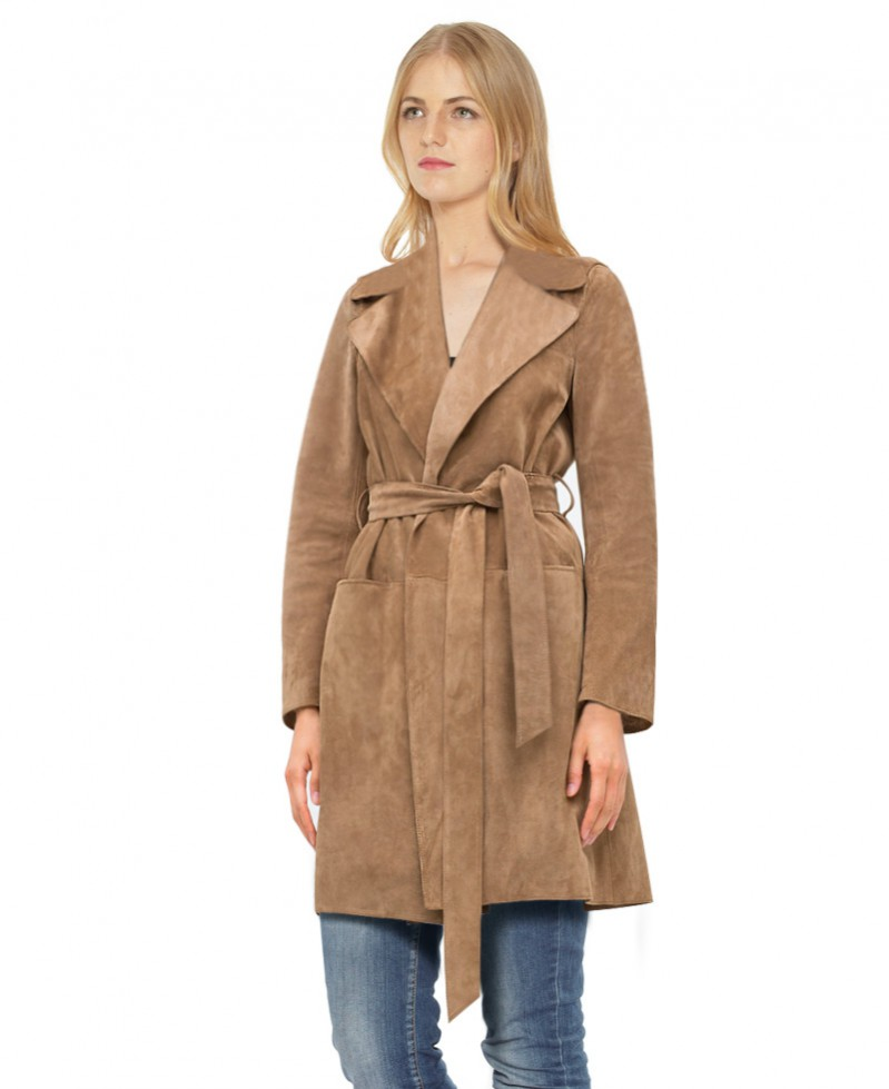 Suede Trench Coat with Adjustable Waist Belt 1