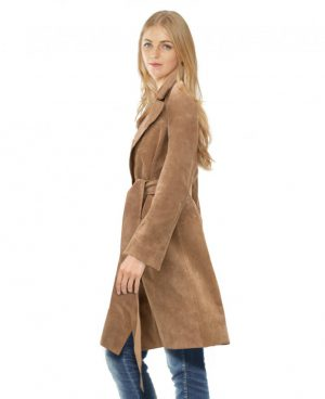 Suede Trench Coat with Adjustable Waist Belt