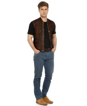 Mens Brown Suede Quilted Vest with Ribbed Collar