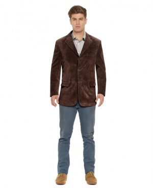 Mens Suede Blazer with Flap Welt Pockets
