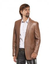 Mens Two Buttoned Leather Blazer