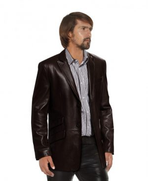 Mens Leather Blazer with Flap Detailing
