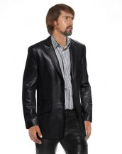 Mens Leather Blazer with Welt Flap Pockets