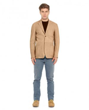 Mens Suede Blazer with Patch Pocket