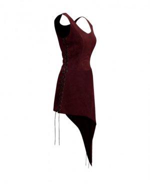 Halloween Suede Dress with Asymmetric Hem