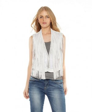 Womens White Leather Vest with Eyelet Fringes