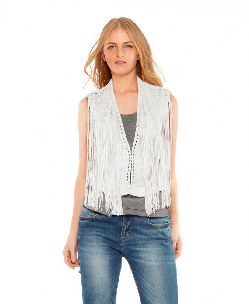 Womens White Leather Vest with Eyelet Fringes 1
