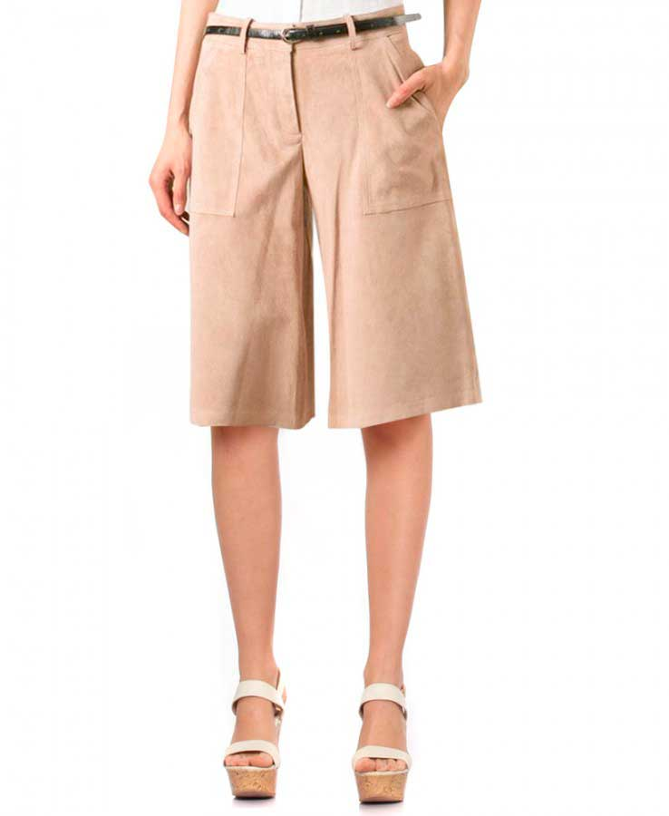 Womens Wide Leg Culottes with Zip Fly Closure 1