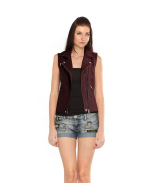 Womens Marsala Leather Vest with Welting