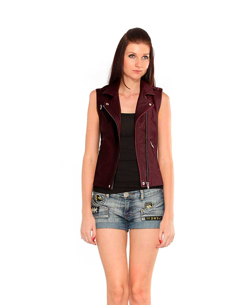 Womens Marsala Leather Vest with Welting 1