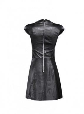 Funnel Neck Black Leather Halloween Dress
