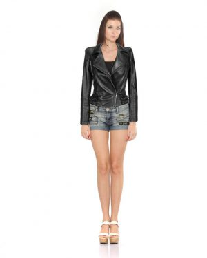 Womens Black Ribbed Leather Jacket